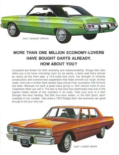 For 1973 dodge dart swinger design criticism